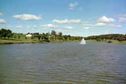 Lake with fountain and 1.1mile walking trail